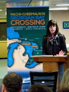 Owen Sound Transportation Company CEO Susan Schrempf  delivers the report on the Chi-Cheemaun's marketing study on Tuesday of this week aboard the ferry.