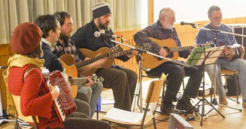Folk Roots Collective perform at Kagawong Winterfest. The group is, from left, Jenna Carter, Jamie Ward, Matt Maranger, Andre Plante, Don Bainbridge and Marcel Beneteau.