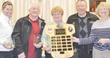 The winning team of the Dr. Jack and Mary McQuay Memorial Mixed Bonspiel including skip Owen Legge, vice Shirley Legge, lead Jackie Legge and second Frank Haner.