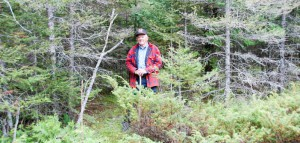 Steve Hall of Gordon Township stands precisely where the trail camera caught the cougar in motion in the same municipality. Mr. Hall was for many years the Ontario Puma Association's Manitoulin contact for people who thought they had spotted a cougar here. The angled tree to the left of Mr. Hall and the tall juniper bush in front of him are the same landmarks caught by the trail camera. The photo with Mr. Hall was taken Monday of this week.