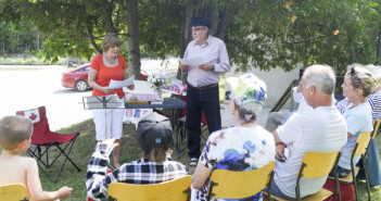 "Bonnie Kogos and Vince Belenson entertain during their ""Comedy Hour"" at Word in the Park."