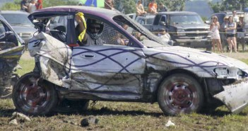 Calling it quits. The yellow flag means a driver is out of contention at the annual smash-up derby as part of the Southeast  Manitoulin Lions Club Summerfest.