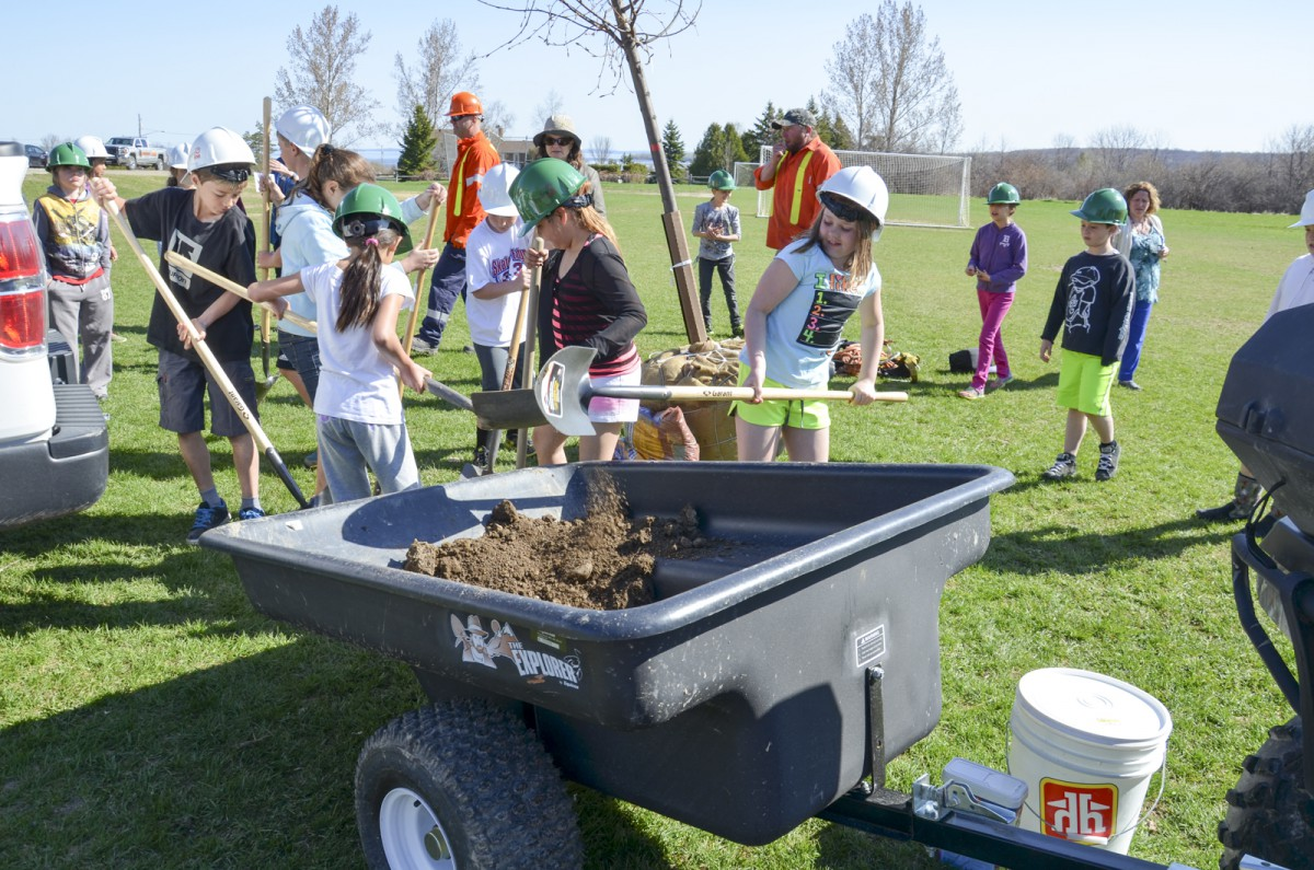 ssiginack Public School students help dig a hole to plant a large tree donated to the school by Hydro One to celebrate Arbour Day.