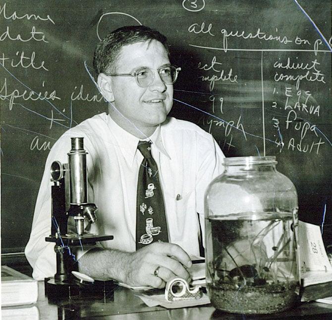 Blair in his senior biology lab in 1962.