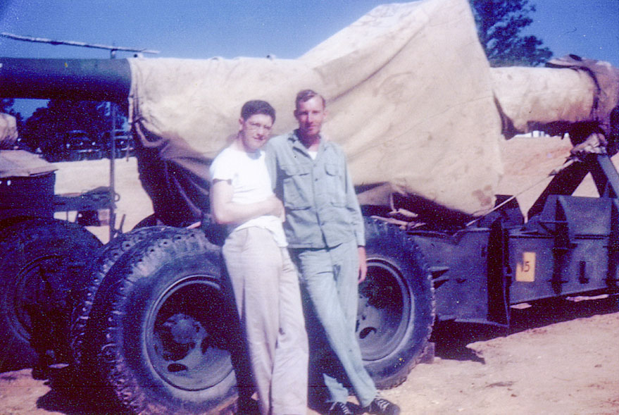 NT May 1944- PFC W. B. Sullivan and PFC George Kent in front of a 'Big Tom'