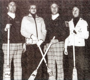 John and Glenda with the Eatons at the Northern Ontario Mixed Playdown bonspiel in 1976.
