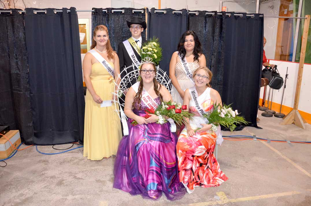 The Providence Bay Fair Ambassador Mackenzie Gilbert is surrounded by her court, runner up Tyra Young right and, back row, Kylie Cranston, Mr. Congeniality David Hall and Nekiiyaa Noakes.
