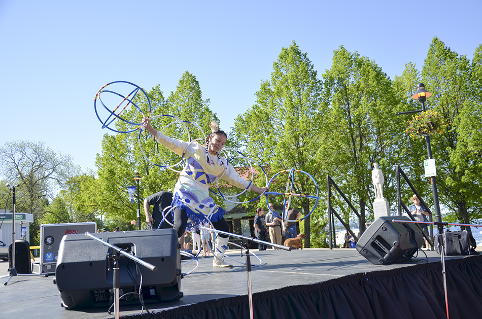 Hoop dancer entertains the crowd that came out for the event