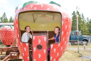 Julia Pidge, age 8, and her sister Amy, age 11, from Silver Water have fun at the midway on Saturday afternoon.