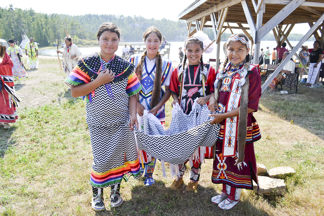 Volunteer powwow dancers did a shawl collection for the water walkers who had stopped in the community earlier this week on their journey across Canada and the US.