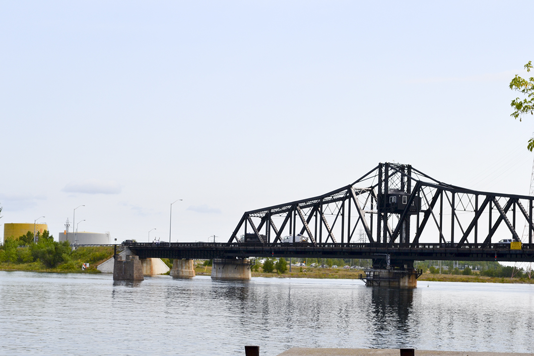 water walkers make their way across the Little Current swing bridge last week as part of their cross Canada and US walk.