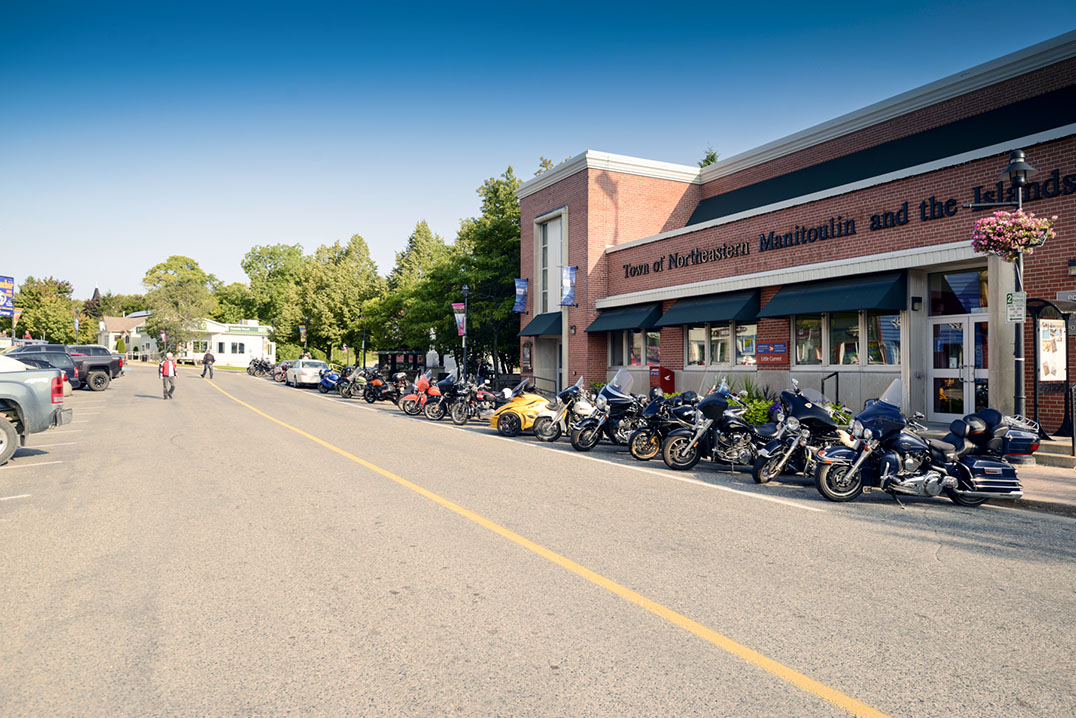 Bikes line Little Current's Water Street before setting off on the first annual Spirit Island Thunder Run. photos by Kevin Milne - See more at: http://www.manitoulin.ca/2015/09/16/redrum-motorcycle-club-holds-its-first-annual-spirit-island-thunder-run-for-charity/#sthash.DMpkzQ5k.dpuf